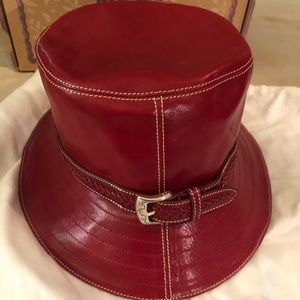Red leather Brighton Buckle Hat